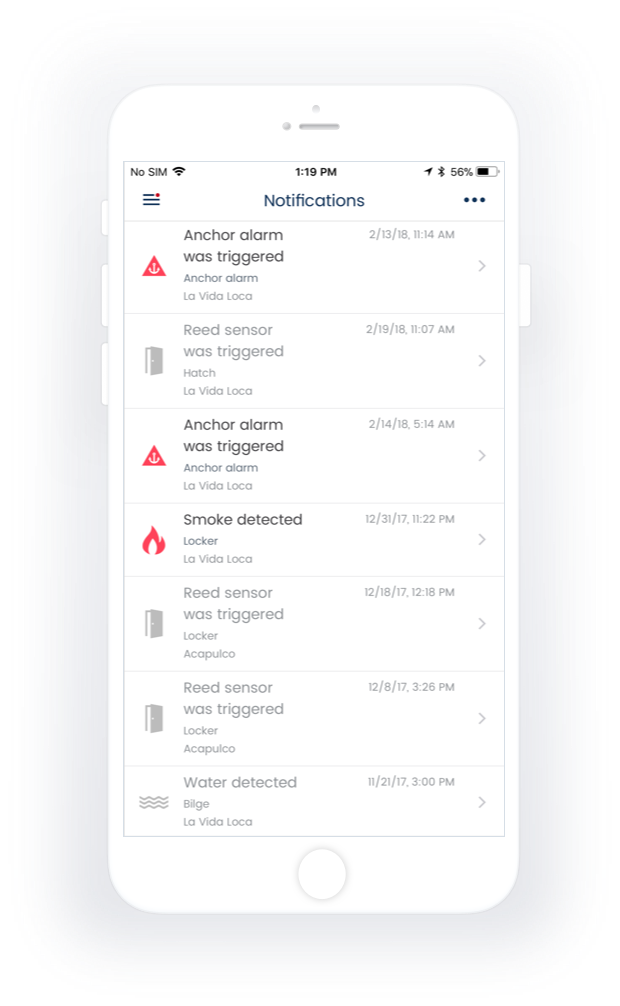 Status of sensors <br>and notifications