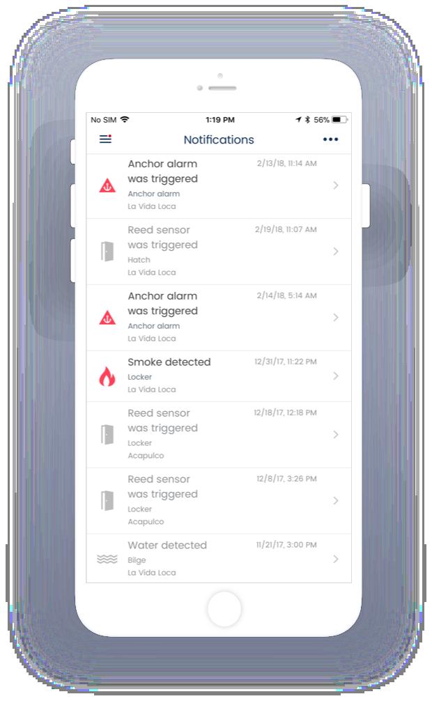 Estado de los sensores<br>y notificaciones